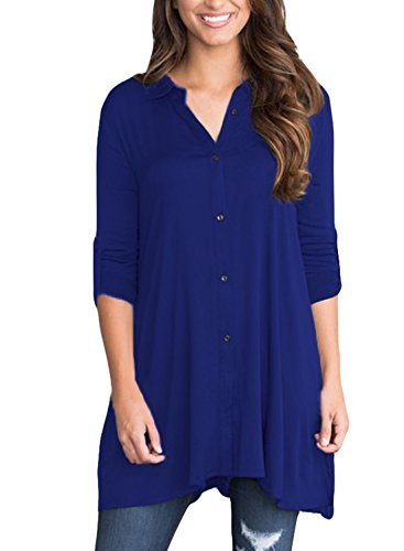 Sisiyer Women's Cuffed 3/4 Sleeve Button Down Shirt Blouse Tunic Tops Blue X-Large