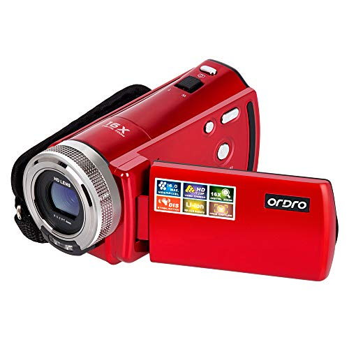 Camera Camcorder, ORDRO Portable 720P Video Camera Recorder for YouTube or Vlog 16MP Digital Camera DV Video Camcorder with a 16GB SD Card and 2 Batteries (HDV-108 Red)