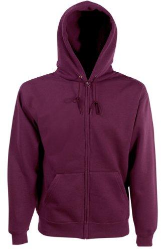 Burgundy XL Fruit Of The Loom Mens Zip Through Hooded Sweatshirt//Hoodie
