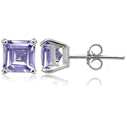 Sterling Silver Genuine, Created or Simulated Birthstone Gemstone 7mm Square Stud Earrings
