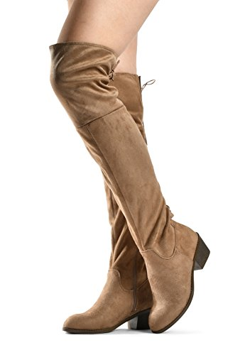 LUSTHAVE Frauen Overknee-Stiefel Stacked Low Heel Western Kate Schnürung Mandel Toe Kniehohe Stiefel Taupe