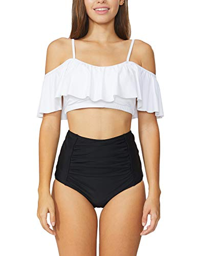 Baleaf Women's Off Shoulder Floral Bikini Set High Waist Two Pieces Bathing Suits White L