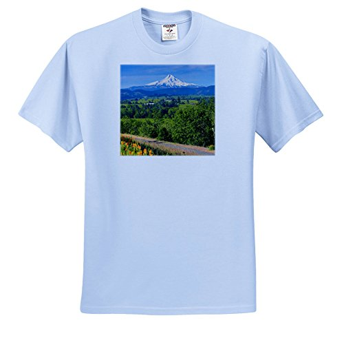 Danita Delimont - Oregon - Wildflowers In Hood River Valley With Mount Hood, Hood River, Oregon - T-Shirts - Light Blue Infant Lap-Shoulder Tee (6M) (TS_259890_74) ()