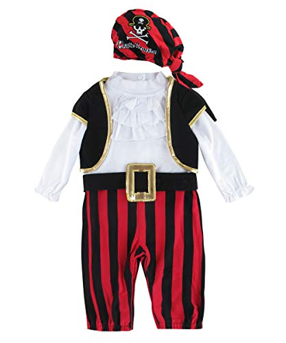 Cosland Infant Baby Boys Halloween Costume Pirate Rompers Long Sleeve (0-6 Months, Pirate)