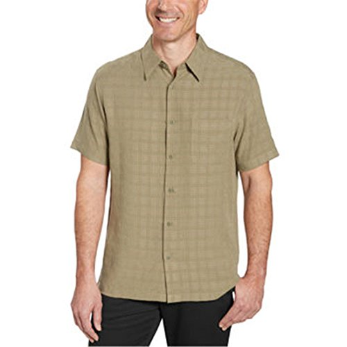 Age of Wisdom Mens Short Sleeve Woven Shirt (L, GREEN)