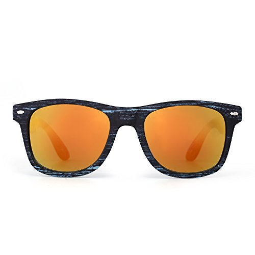 Retro Mirror Wayfarer Sunglasses Reflective Lens Spring Hinge Temple Men Women (Blue & Black Wood / - Reflective Orange Sunglasses