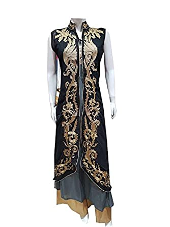 kurtas for womens georgette Black chinese collar Double layer Party Wear  Embroidery Ladies Kurtis Kurties for ... a7f46a8cf