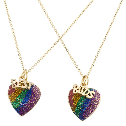 Lux Accessories Gay Pride Goldtone Rainbow Glitter Heart Best Buds BFF Necklace Set 2PC