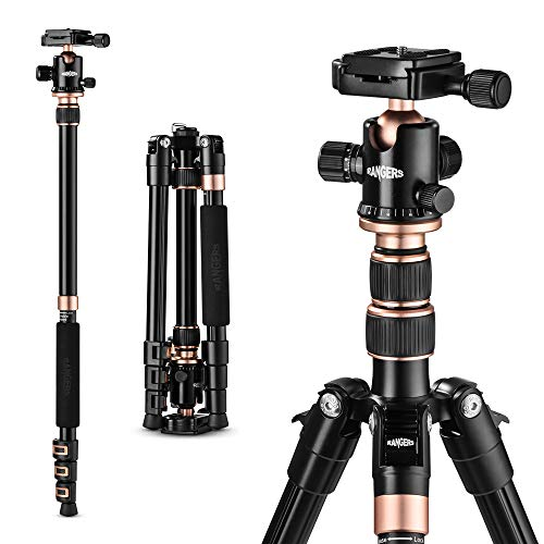 "TYCKA Rangers 56"" Compact Travel Tripod, Lightweight Aluminum Camera Tripod for DSLR Camera  with 360° Panorama Ball Head and Carry Bag"