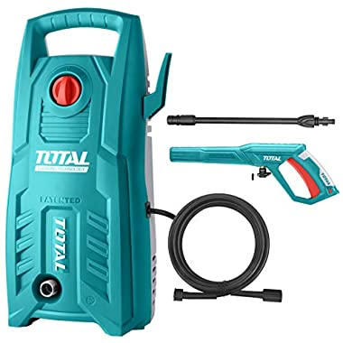 Total 1400-WATT High Pressure Washer 130Bar (1900PSI) with TSS Auto Shut Off and 100% Copper Wire Carbon Brush Motor 8