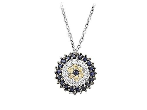 Pendentif Mauvais Œil Saphir et Diamants-Femme- or Blanc 214P0009
