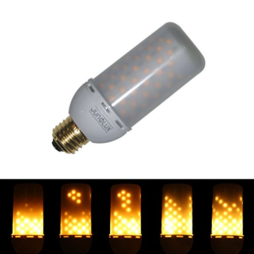 JUNOLUX LED Lighting Bulbs Super Warm White Flame Light Burning Effect Decorative Fire Flickering Simulation,Pack of - Tubular Base 4 Leg