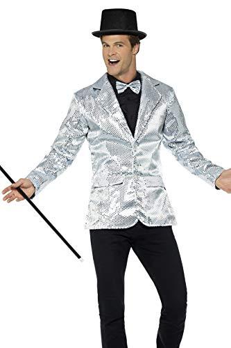 Smiffys Men's Sequin Jacket, Silver, -