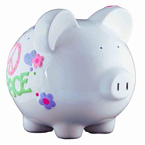 Peace Love Girls Piggy Bank - Large - (Personalized & Custom With Name And Year) (First Financial Toy For Teaching Boys & Girls About Saving Money) (Perfect Unique Gift Idea For Babys 1st Birthday)