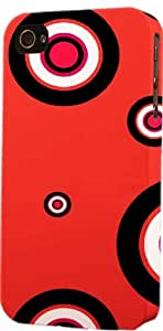 Red Circle Pattern Dimensional Case Fits Apple iPhone 4 or iPhone 4s