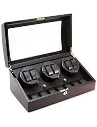 6 Watch Winder With 7 Additional Watch Storage Spaces, Three Turntable With 4 Program Settings. Ebony Wood Finish