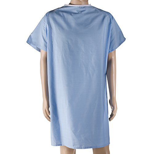 DMI Hospital Gown, Easy Access Patient Gown, Blue Hospital Gown with Simple To Fasten Snaps, (Patient Costume)