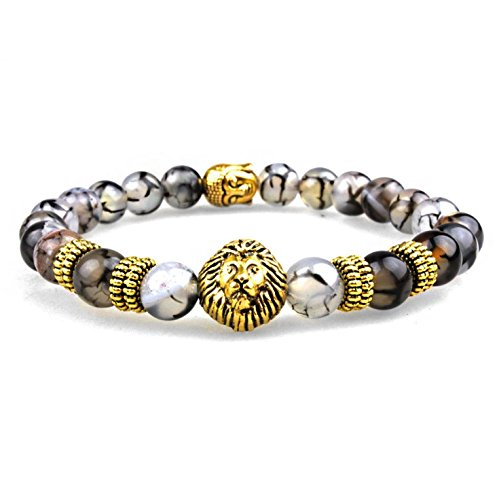 Lion head Charm Taurus/Mala Buddha Natural Stone Bracelet 7 Chakra