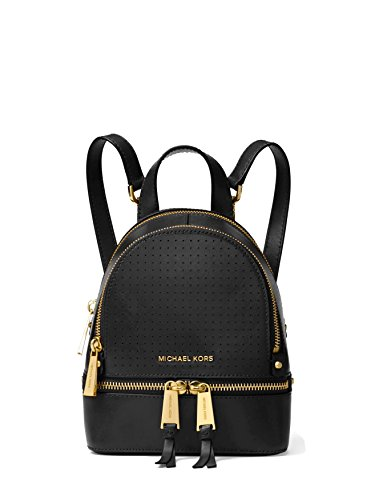 MICHAEL Michael Kors Rhea Mini Perforated Leather Backpack - Black