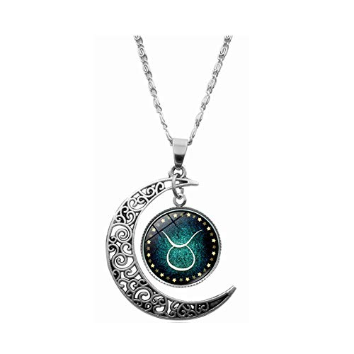 Aineecy Time Gemstone Constellation Taurus Necklace Twelve Zodiac Moon Crescent Pendant Clavicle Chain Necklace for Women Retro Fashion Neck Jewelry(Taurus)