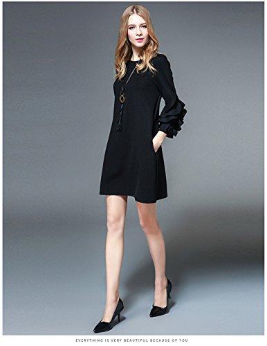 Women`s Cotylédons, Plus La Taille Des Robes Flare Robe Couleur Unie Col Rond Manches Noir