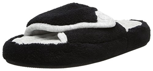 ISOTONER Women's Microterry Pillowstep Spa Slide, Black, 6.5/7 by ISOTONER