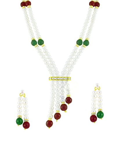 Aaa Quality, With Double Strings Dangle Earrings Length 1718 Inches Real Freshwater Pearls Trendy Souk Big Girls Siroun Two Strings White Ruby And Emerald Beads Necklace