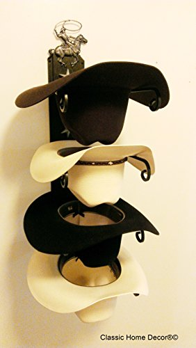 Mark Christopher Collection American Made Cowboy Hat Holder with Cowboy Roper 664 Cowoy Roper Black/Silver (Roper Collection)
