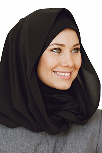 Cotton and Shiffon head scarf, instant black hijab, ready to wear muslim accessories for women by VeilWear (Image #2)