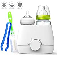 Hyperia Milk Bottle Warmer Portable - Food Milk Formula Water Warmers, Electric Dual Bottles Design Heater & Steam Sterilizer for Kids, 3 in 1 with Bottle Brush & Clip Set