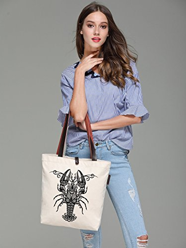 So'each Women's Lobster Geometric Graphic Canvas Handbag Tote Shoulder Bag