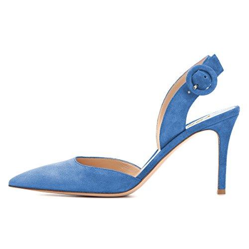 Slip on Heels Shoes Blue Slingback Toe Women Pointed Slide High Pumps YDN Stiletto wEHfqXYgx