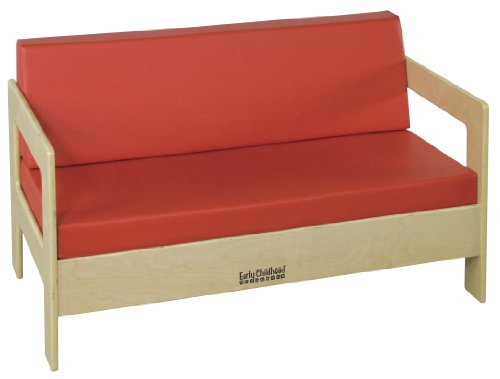 ECR4Kids Birch Hardwood Children's Living Room Sofa, Red