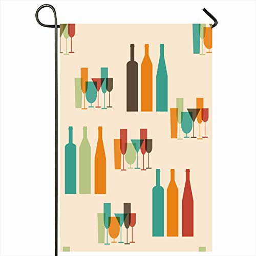 - Ahawoso Outdoor Garden Flag 12x18 Inches Vermouth Blue Cocktail Wine Bottles Glasses Food Drink Lunch Bar Alcohol Martini Retro Abstract Two Sides Seasonal Home Decor House Yard Sign Banner