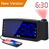 Projection Alarm Clock Radio - Koviti FM Radio Alarm Clock with Dimmer, Ultra Clear LED Digital Alarm Clock to Ceiling Wall, Dual Alarm Snooze Sleep Timer for Heavy Sleepers