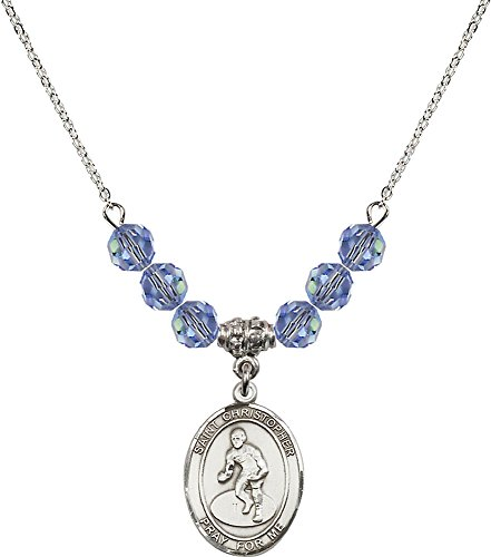 Rhodium Plated Necklace with 6mm Light Sapphire Birthstone Beads & Saint Christopher/Wrestling Charm. by F A Dumont