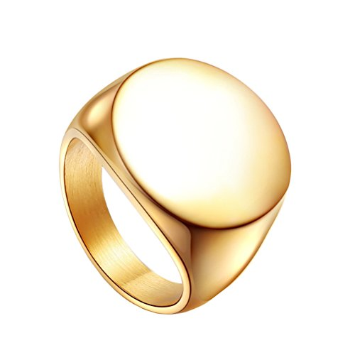 HIJONES Men's Stainless Steel Polished Round Top Signet Style Ring Gold Size 11]()