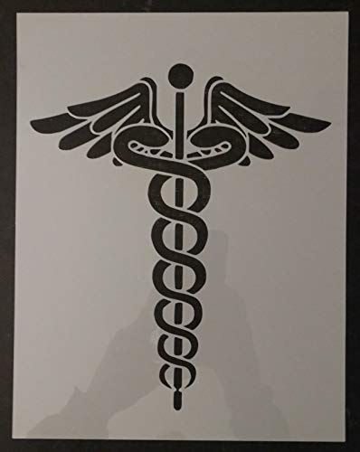 "OutletBestSelling Reusable Sturdy Medical Nurse RN Symbol Caduceus 8.5"" x 11"" Custom Stencil"