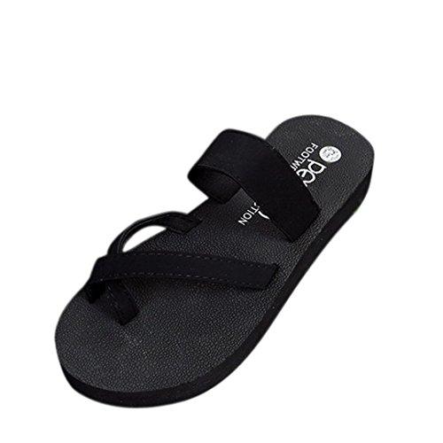 ikevanブラックレディース夏靴夏フリップフロップカジュアルスリッパフラットサンダルビーチオープントウ靴 US:7.5 ブラック