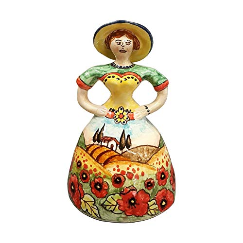 CERAMICHE D'ARTE PARRINI- Italian Ceramic Doll Small Decorated Poppies Hand Painted Made in ITALY Tuscan Art Pottery