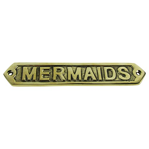Treasure Gurus Solid Brass Mermaid Nautical Decor Ship's Sign (And Ship Mermaid)