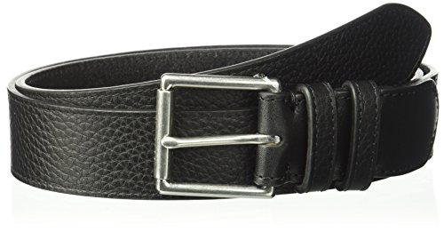 - Cole Haan Men's 35mm Flat Strap W/Stitched Edge, Double Loops, Polished Nickel/Black, 32