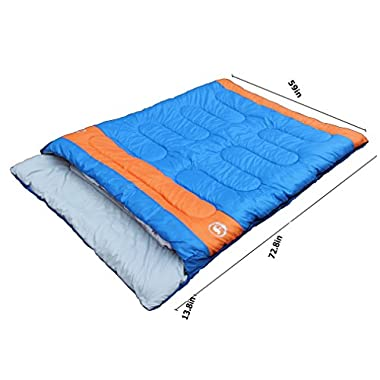 Famous Juggle 28℉~40℉~60℉ Double Sleeping Bag&unzipped into 2 individual sleeping bags(Blue)