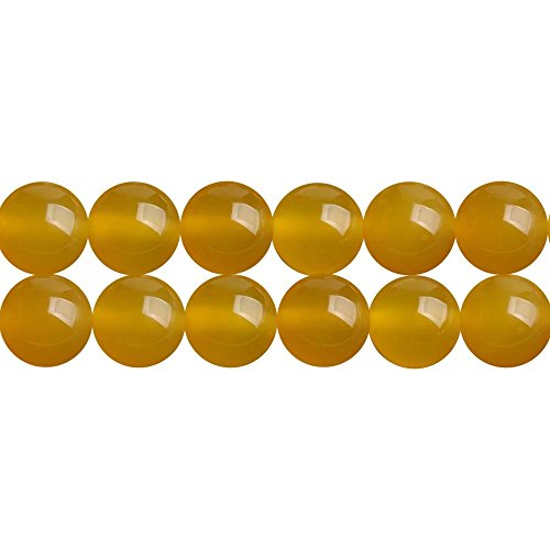 Stone Semi Precious Agate (AAA Natural Yellow Agate Semi Precious Stone Round 8mm Beads for Women Jewelry DIY Making Supply Sold by One Strand 15 Inch APX 46 Pcs)