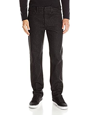 Southpole Men's Twill Pants Long in Thick Bull Twill Fabric and Straight Fit, Raw Black, 34x32 - Rbk Skate Pant