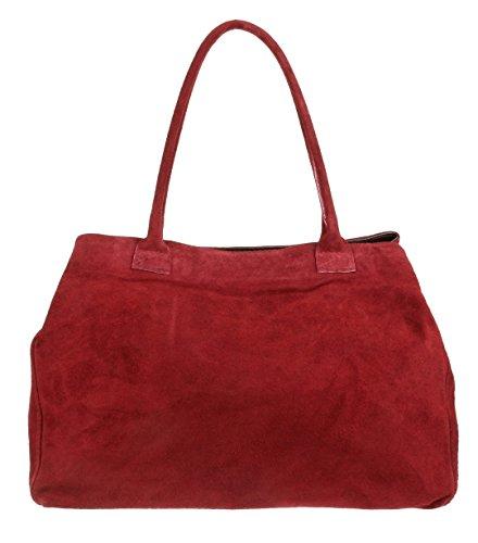 Girly HandBags Expandable Italian Suede Leather Shoulder Bag Burgundy