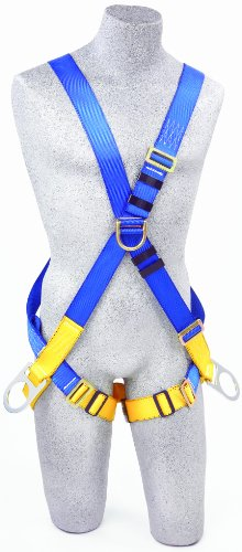 3M Protecta First AB17611, 5-Point Cross Over Harness, with Front/Back/Side D-Rings, Medium, 310 Pound, Color Blue/Yellow