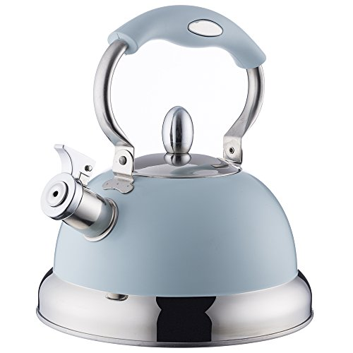 Typhoon Living Blue Stove Top Kettle, 85-Fluid Ounce Capacity, Stainless Steel, Heat-Resistant Coating, Soft-Touch Handle, Quick Flip Whistling Cap
