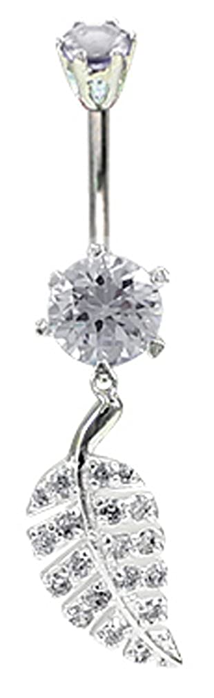 Leaf designed belly button ring in silver with CZ crystals