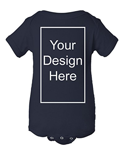 - Add Your Own Text and Design Custom Personalized Infant Baby Rib Bodysuit (18 Months, Navy Blue)